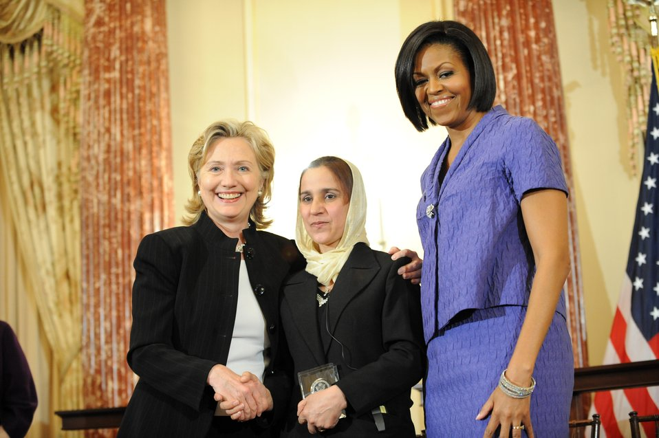 Secretary Clinton With First Lady Michelle Obama and Honoree Shukria Asil of Aghanistan