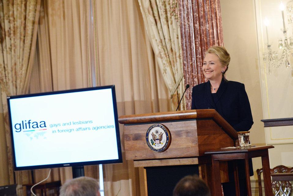 Secretary Clinton Delivers Remarks at the GLIFAA 20th Anniversary Celebration