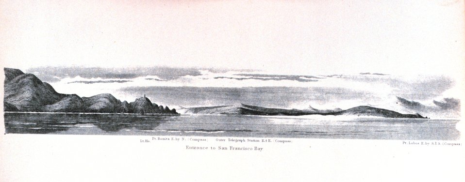 The entrance to San Francisco Bay. In:  Pacific Coast.  Coast Pilot of California, Oregon, and Washington Territory In:  Pacific Coast.  Coast Pilot of California, Oregon, and Washington Territory .  By George Davidson, 1869.  P. 56.  Library Call Number