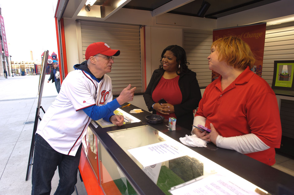 April 22, 2013 – During the game EPA staff and our Acting Administrator spoke to fans about recycling