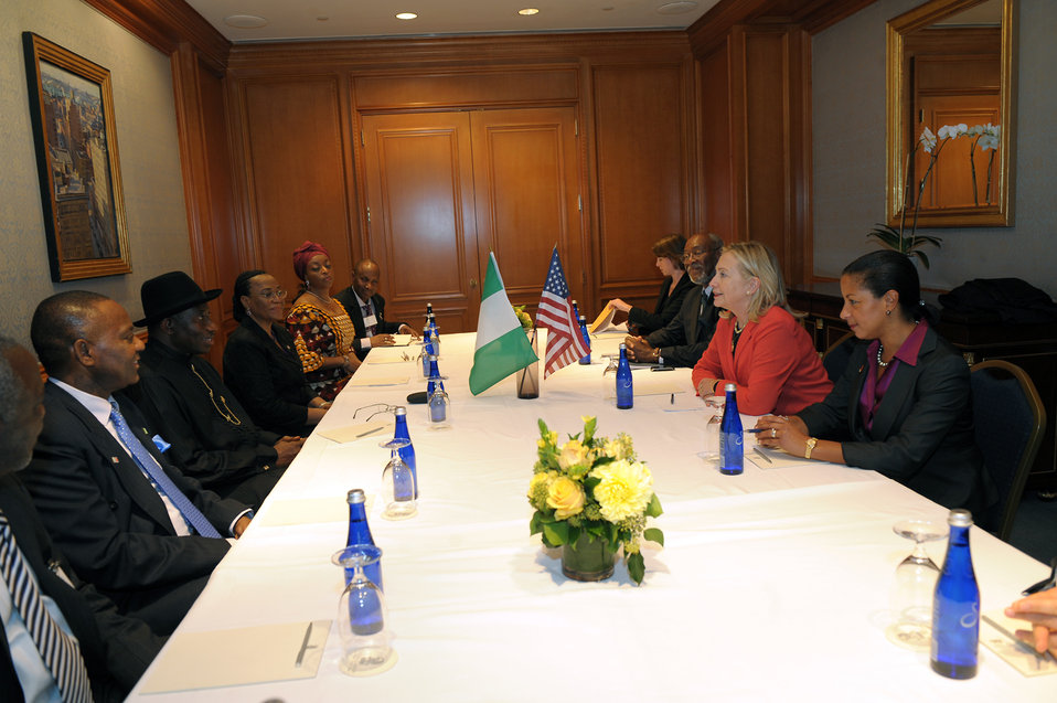 Secretary Clinton Participates Meets With Nigerian President Goodluck Jonathan