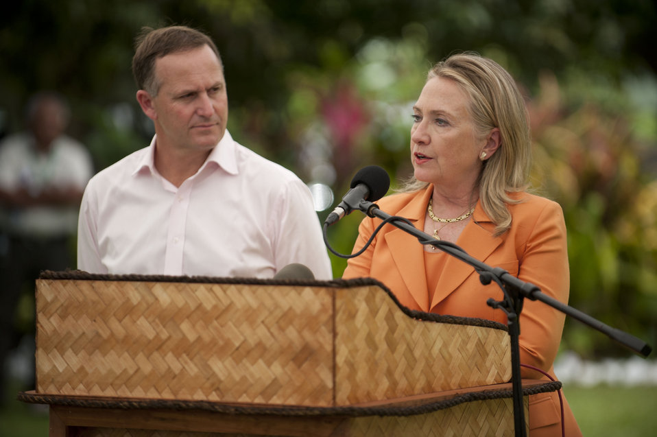 Secretary Clinton With New Zealand Prime Minister Key