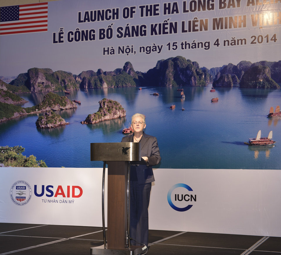 U.S. Environmental Protection Agency Administrator Gina McCarthy speaks at the launching ceremony.