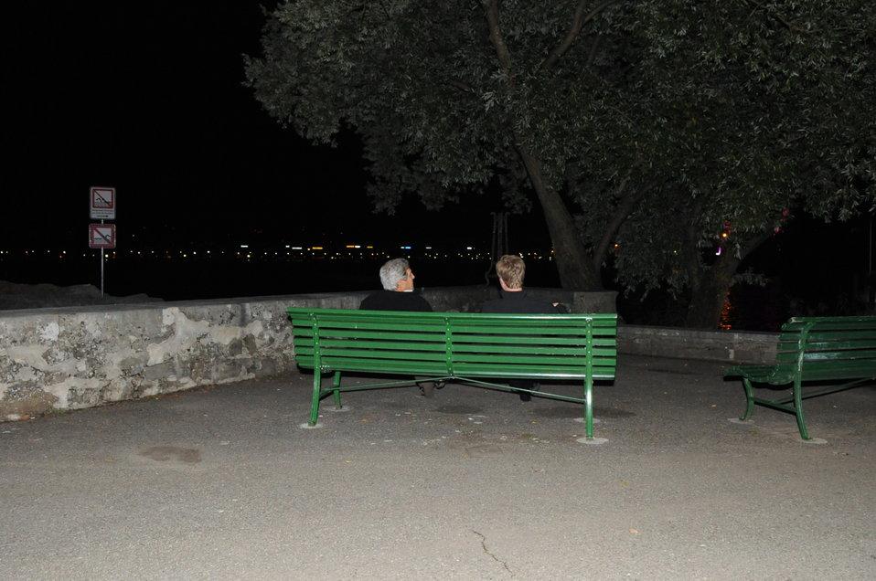 Secretary Kerry, Senior Aide Meininger Take Late-Night Break Next to Lake Geneva
