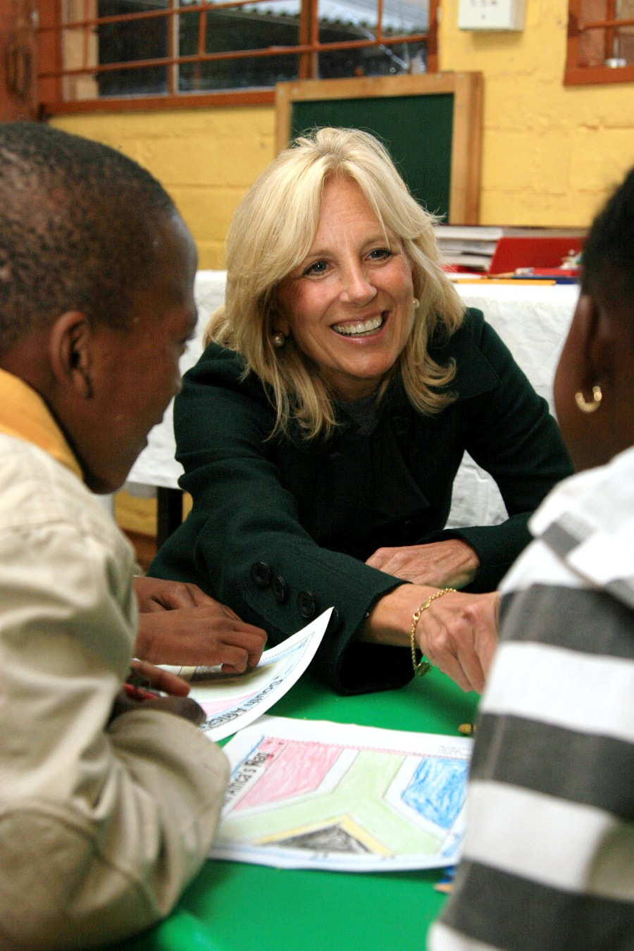 Dr. Jill Biden Helps Children With Their Coloring Skills