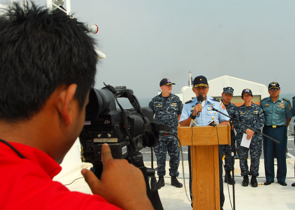Tentara National Indonesia Surgeon General Marsekal Muda Mariano Delivers Remarks During a Media Availability Tour