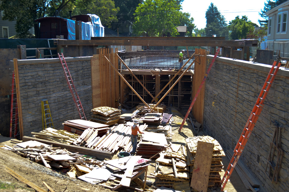 Workers prepare to place concrete for two new box culverts