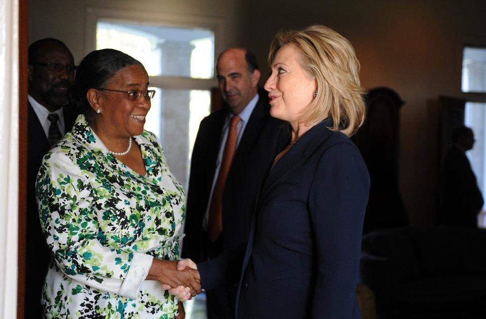 Secretary Clinton Meets With Haitian President Candidate Manigat