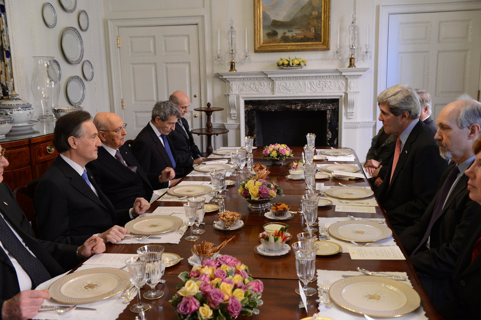 Secretary Kerry Hosts a Working Lunch With Italian President Napolitano