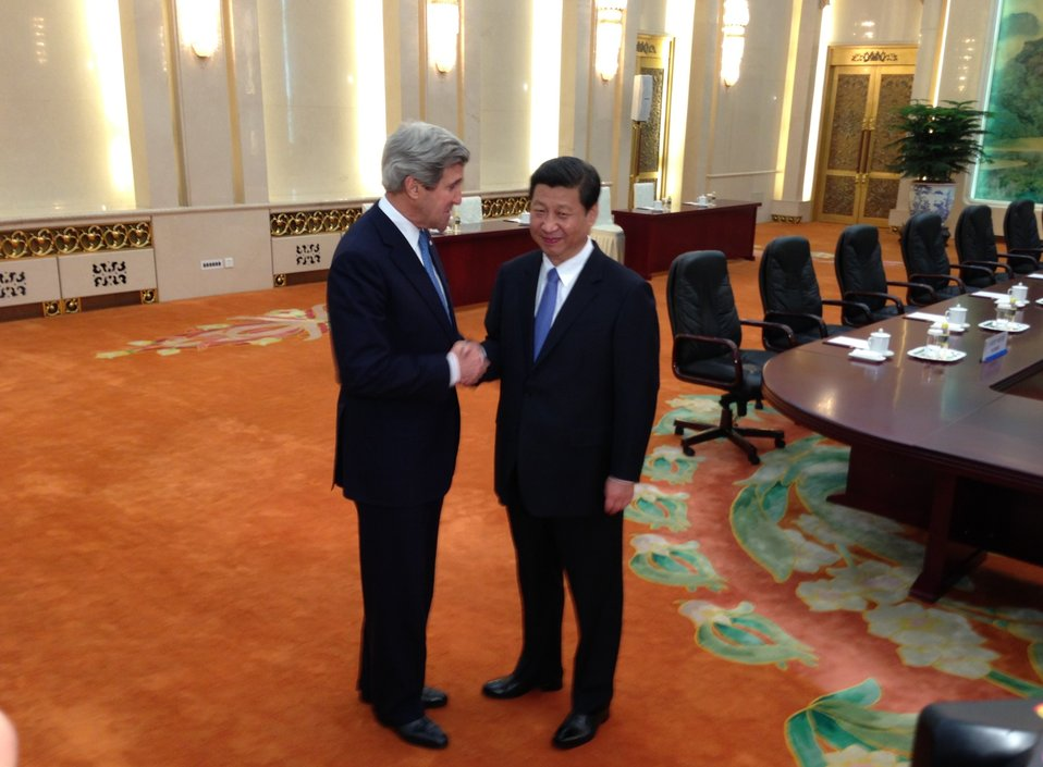 Secretary Kerry is Greeted by Chinese President Xi Jinping