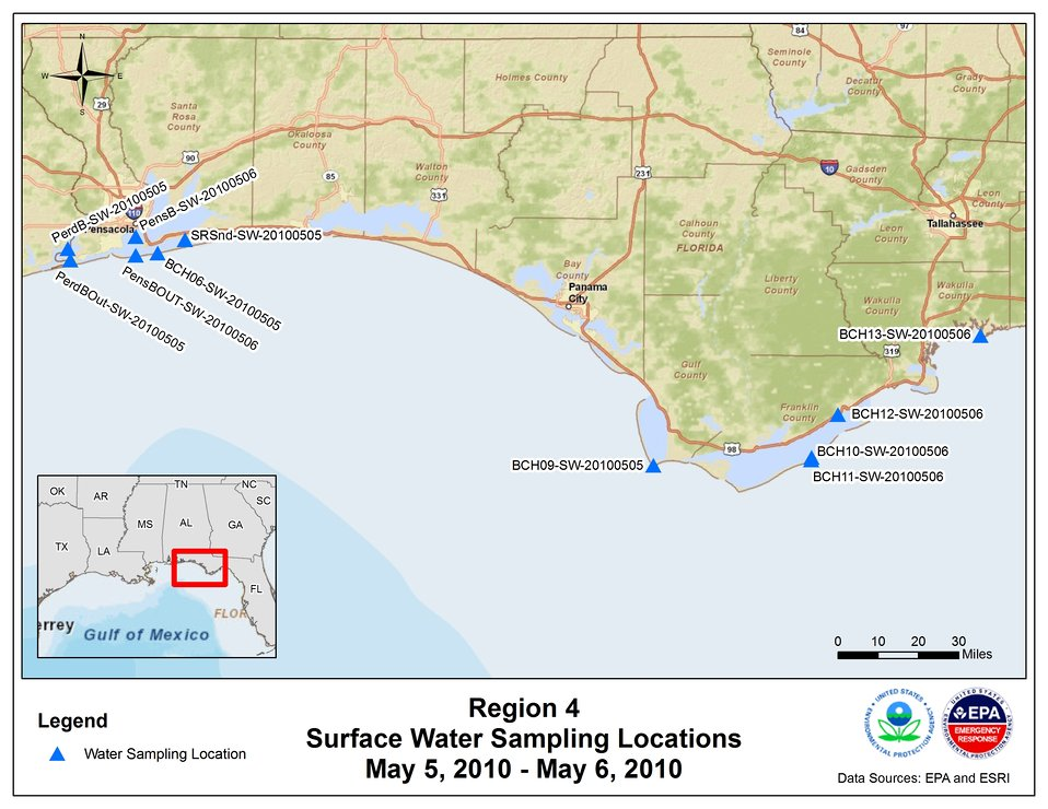 EPA Water Sampling Locations May 5-6, 2010