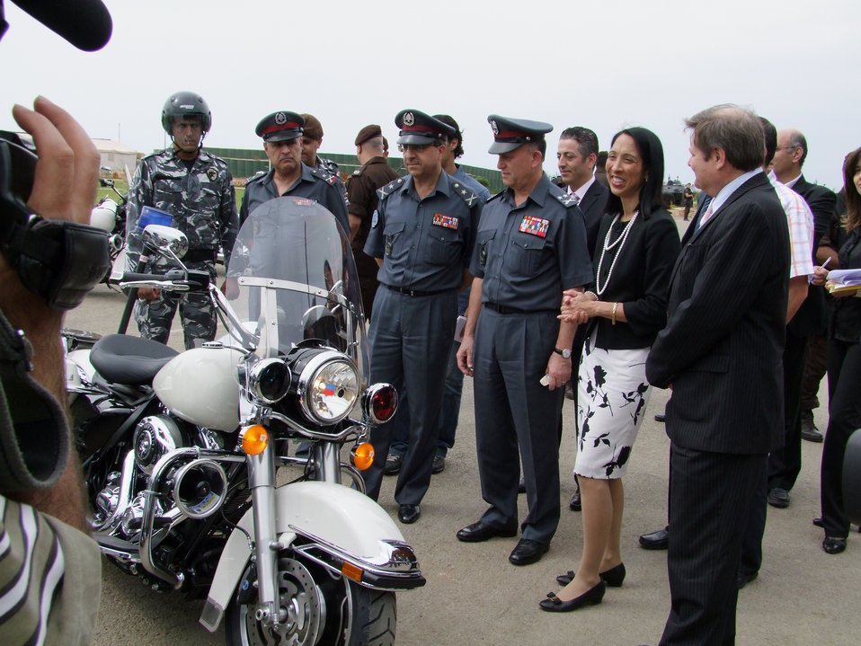 Ambassador Sison Inspects a New Harley Davidson Police Motorcycle