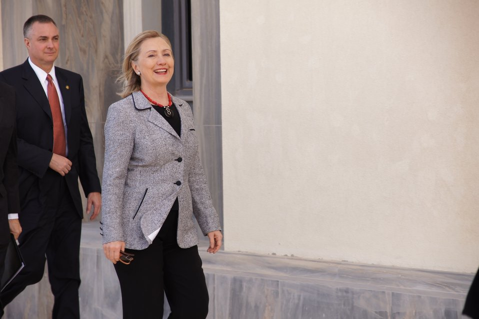 Secretary Clinton Walks to a Meeting