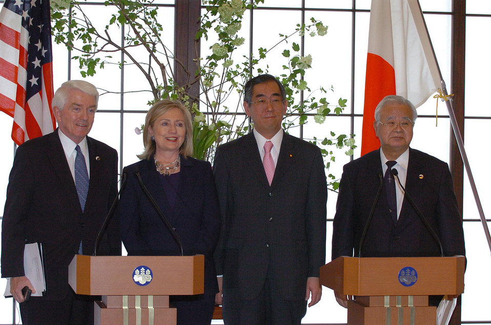Chamber of Commerce President Donohue, Secretary Clinton, Japanese Foreign Minister Matsumoto, and Keidanren Chairman Yonekura Address the Press