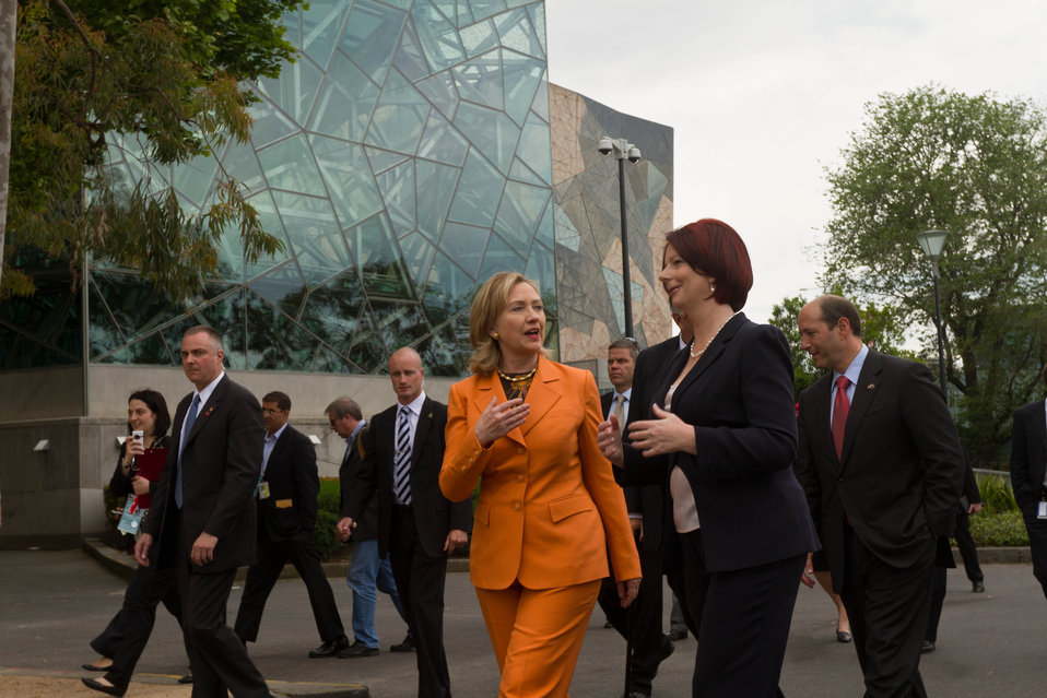 Australian Prime Minister Gillard and Secretary Clinton Walk to Lunch in Melbourne