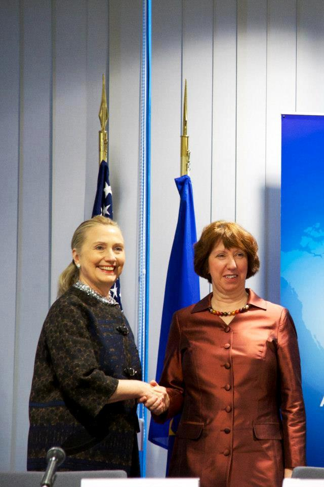 Secretary Clinton Shakes Hands With EU High Representative Ashton