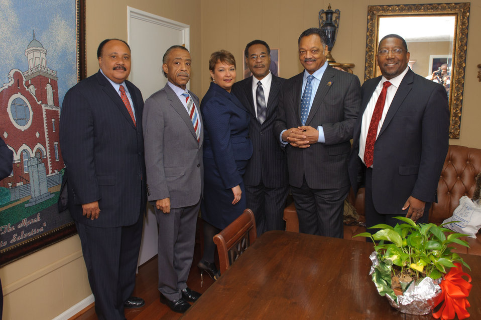 Administrator Jackson and civil rights leaders gather before her historic speech