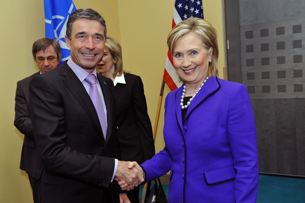 NATO Secretary General Rasmussen With Secretary Clinton