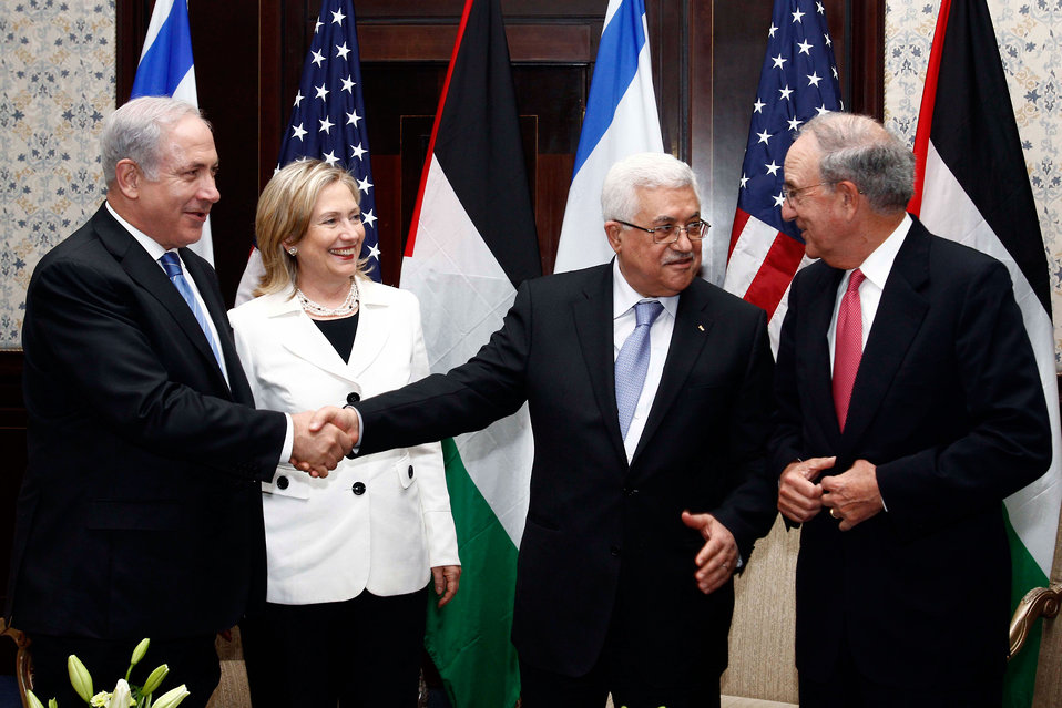 Israeli Prime Minister Netanyahu, Secretary Clinton, Palestinian President Abbas, and Special Envoy Mitchell Chat After Meeting