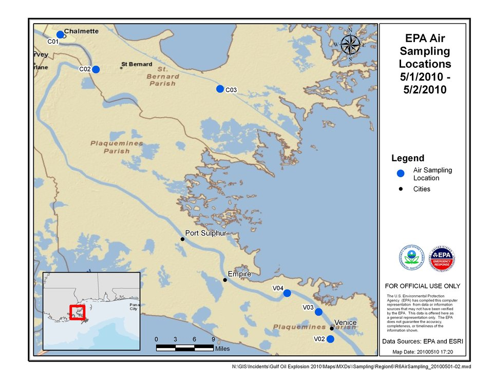 EPA Air Sampling Locations May 1-2, 2010