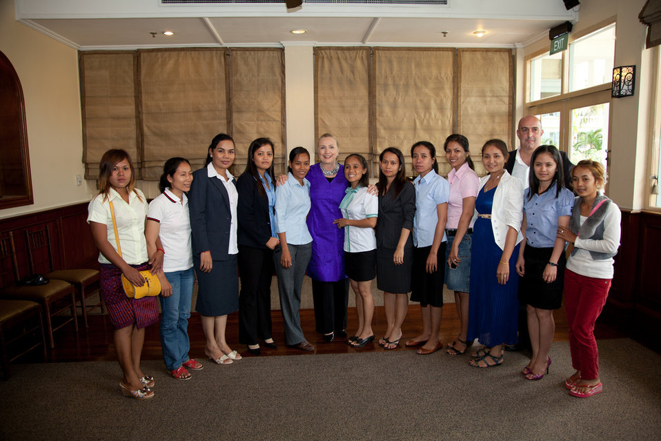 Secretary Clinton With Participants of the Labor Roundtable