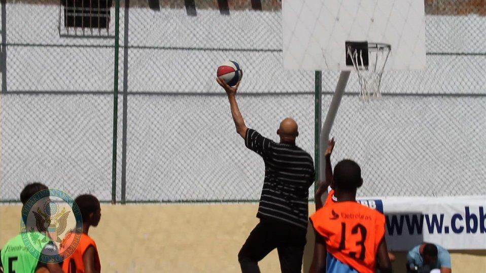 Cultural Ambassador Kareem Abdul-Jabbar Plays Basketball
