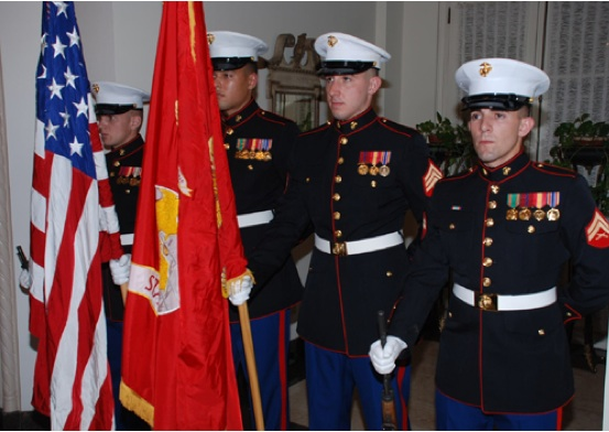 USINT Marine Corps Guard Present Arms at U.S. Independence Day Celebration
