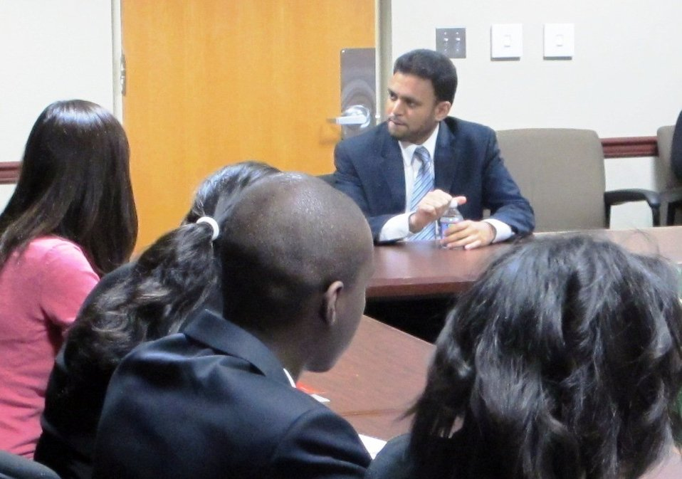 Special Envoy Hussain Listens to a Student