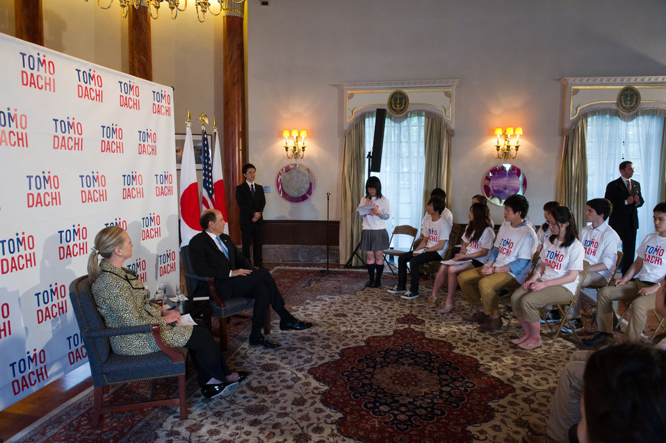Secretary Clinton and Ambassador Roos Hold a Discussion With Tomodachi Program Youth