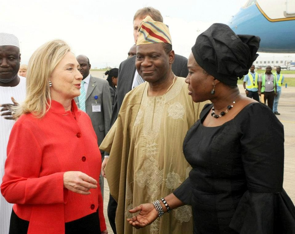 Secretary Clinton Is Greeted By Nigerian Ministers Ashiru and Onwuliri