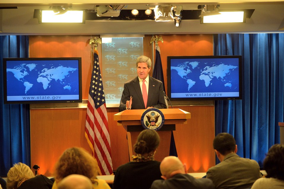 Secretary Kerry Makes a Statement to the Press on Syria and the UN