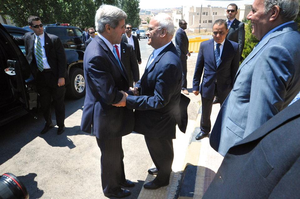Secretary Kerry Meets With Palestinian Authority Negotiator Erekat