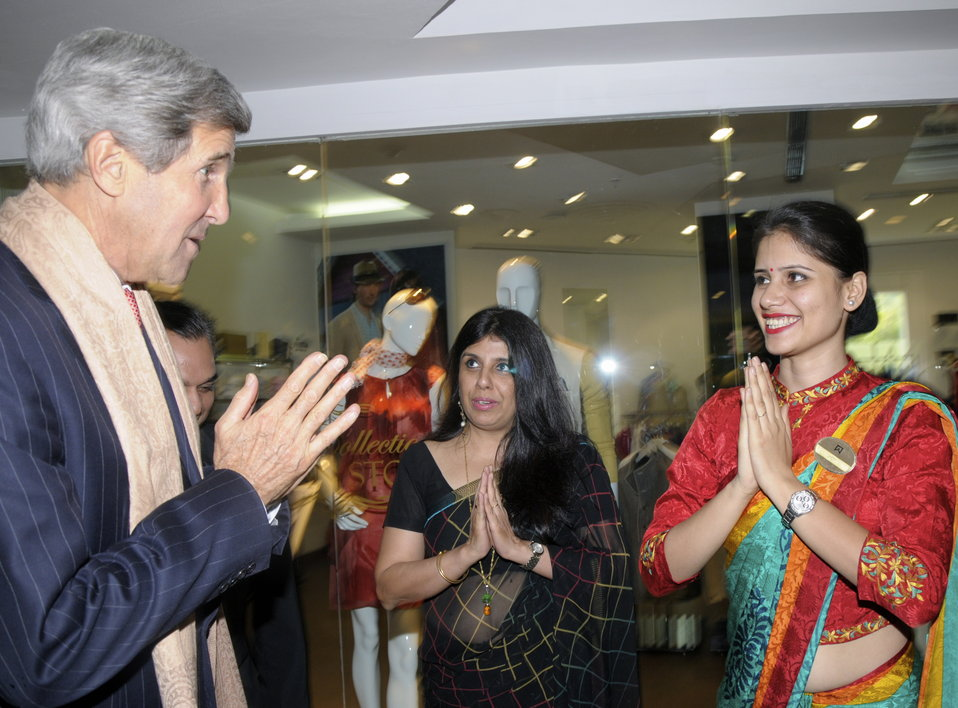 Secretary Kerry Participates in a Traditional Namaste Welcoming Ceremony