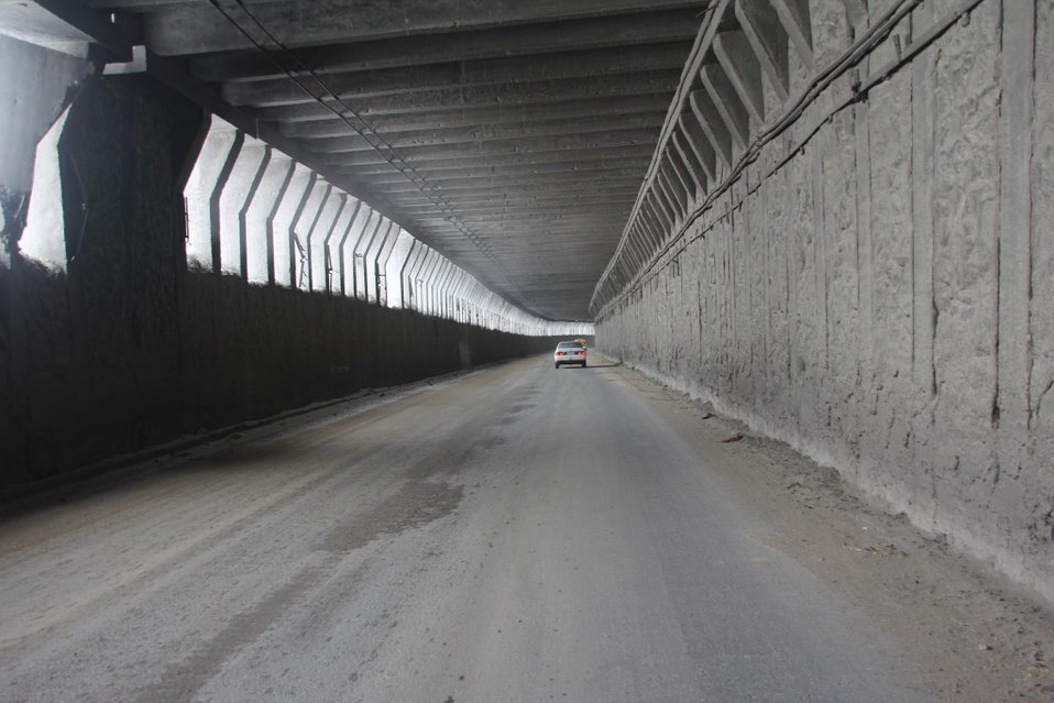U.S. Army Corps of Engineers recently repaved the road inside the Salang tunnel (Picture taken on November 24, 2013)