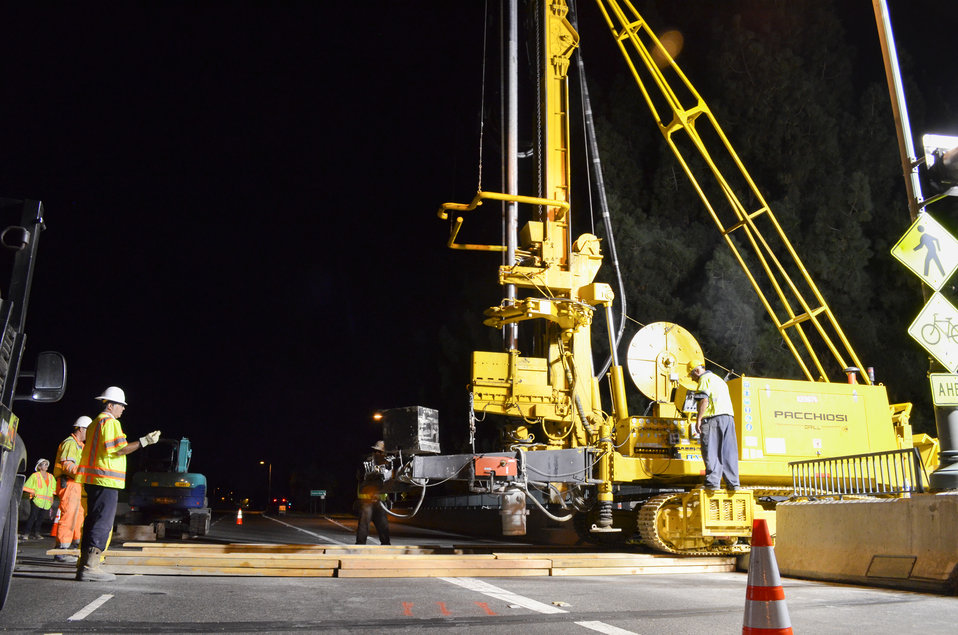 A jet-grout drill crosses Sacramento's Watt Avenue bridge