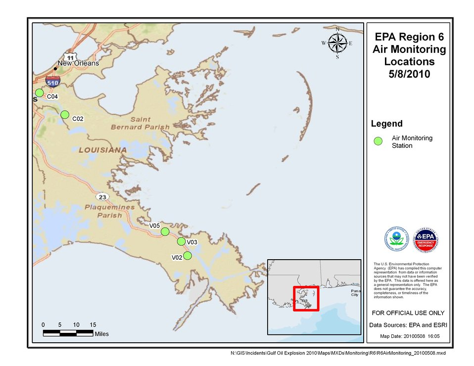 EPA Air Monitoring Locations May 4, 2010