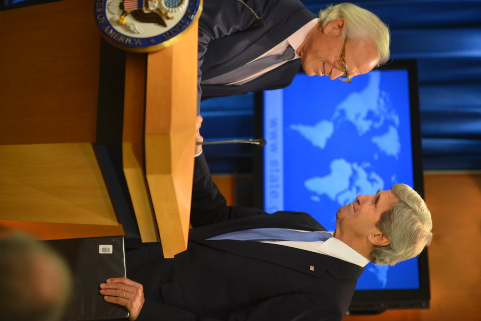 Secretary Kerry Shakes Hands With Ambassador Indyk