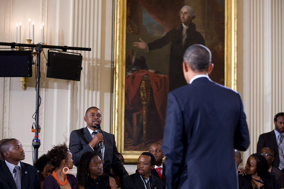 President Obama Listens to a Question from Felix Limani of Malawi