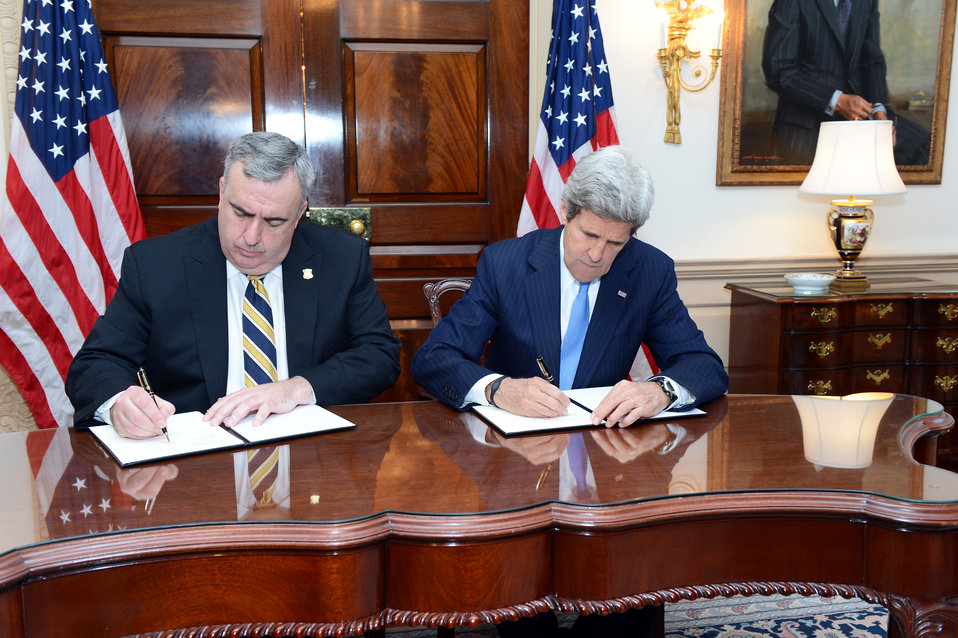 Secretary Kerry and Boston Police Commissioner Davis Sign a Memorandum of Understanding
