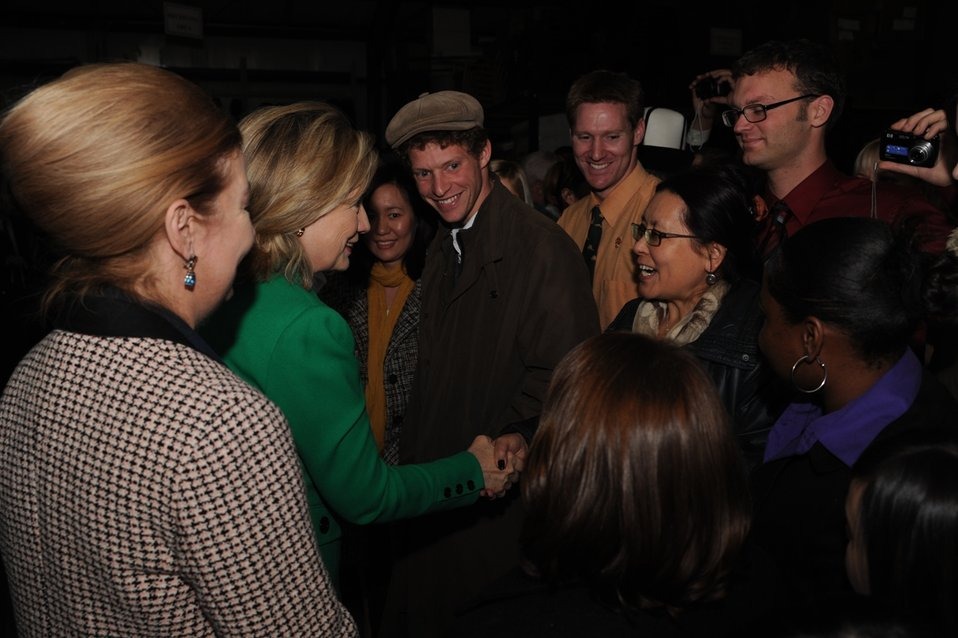 Secretary Clinton Is Greeted By U.S. Embassy Bishkek Staff