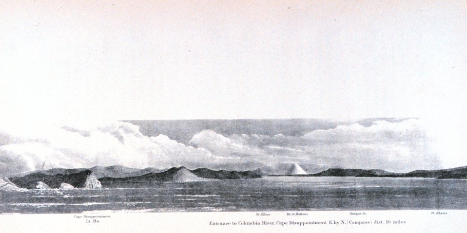 The entrance to the Columbia River with Mount St. Helens seen in the distance. In:  Pacific Coast.  Coast Pilot of California, Oregon, and Washington Territory .  By George Davidson, 1869.  P. 146. Library Call Number VK947.D4 1869.