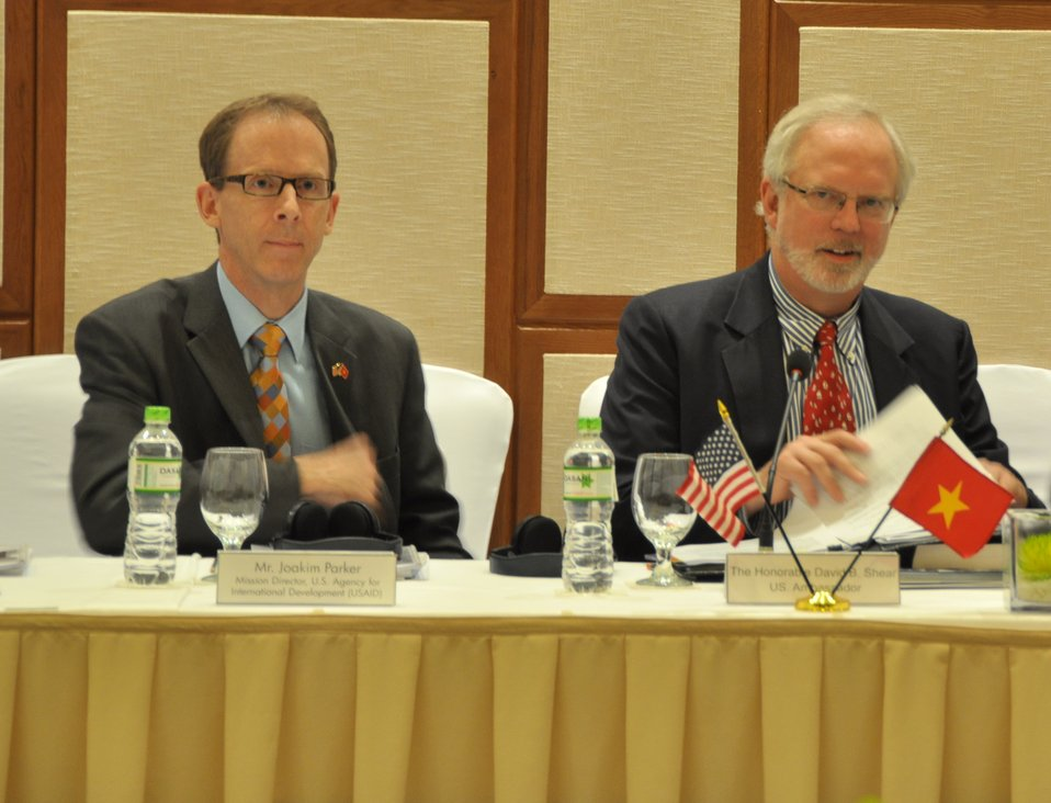 USAID Mission Director, Joakim Parker (left) and U.S. Ambassador David Shear (right)