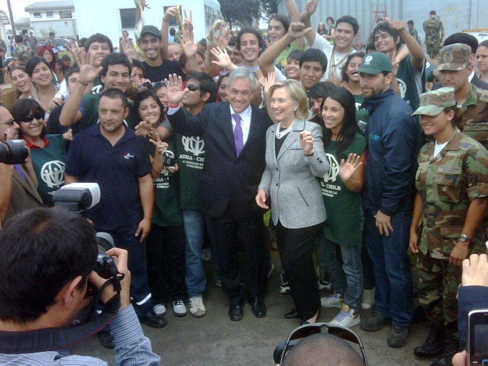 Secretary Clinton Visits Chilean Earthquake Relief Volunteers