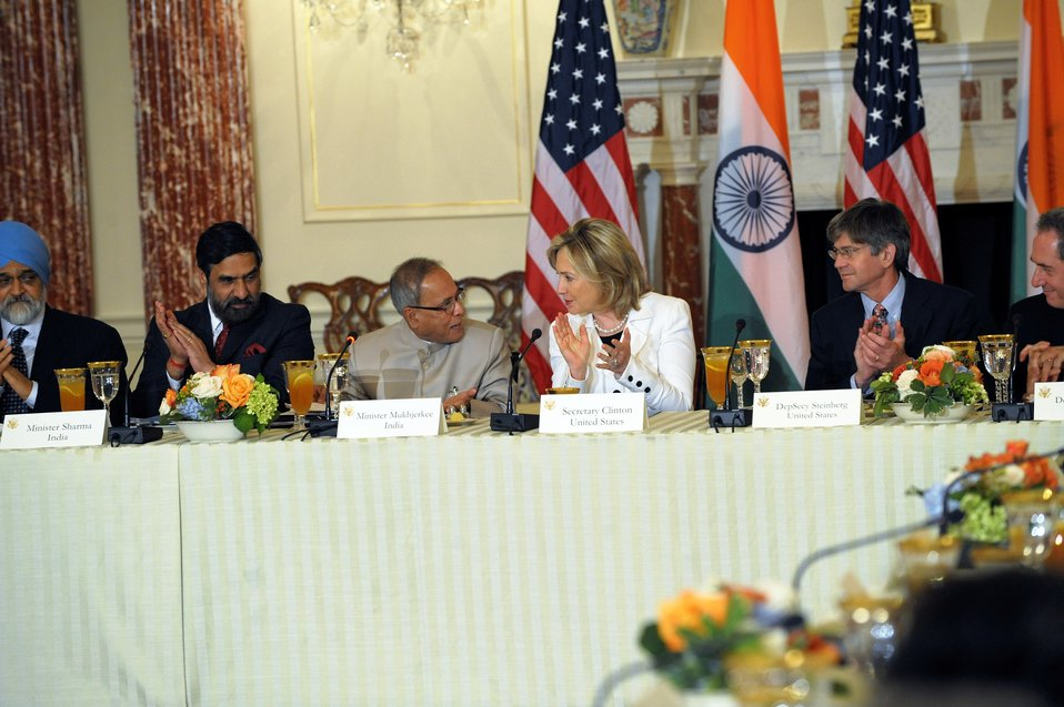 Indian Ministers, Secretary Clinton, and Deputy Secretary Steinberg Listen to Remarks