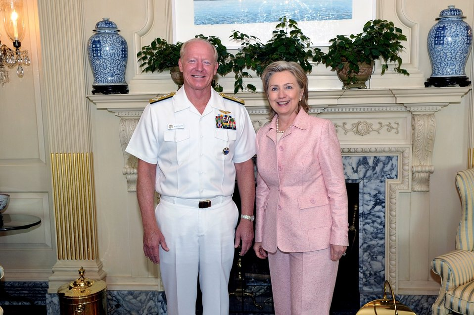 Secretary Clinton Meets With U.S. Admiral Robert F. Willard
