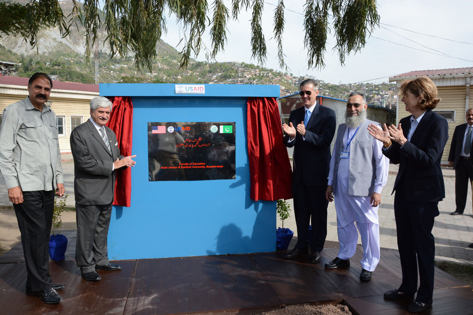 The United States Ambassador to Pakistan, Richard Olson broke ground for a U.S. funded construction of a new Faculty of Education building in Muzaffarabad, AJK.  33