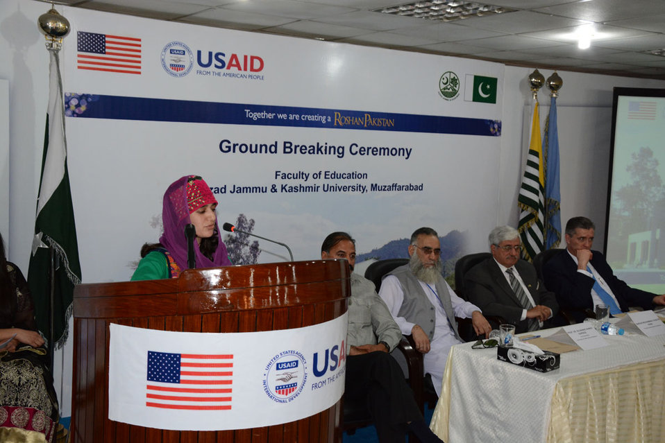 The United States Ambassador to Pakistan, Richard Olson broke ground for a U.S. funded construction of a new Faculty of Education building in Muzaffarabad, AJK.  23