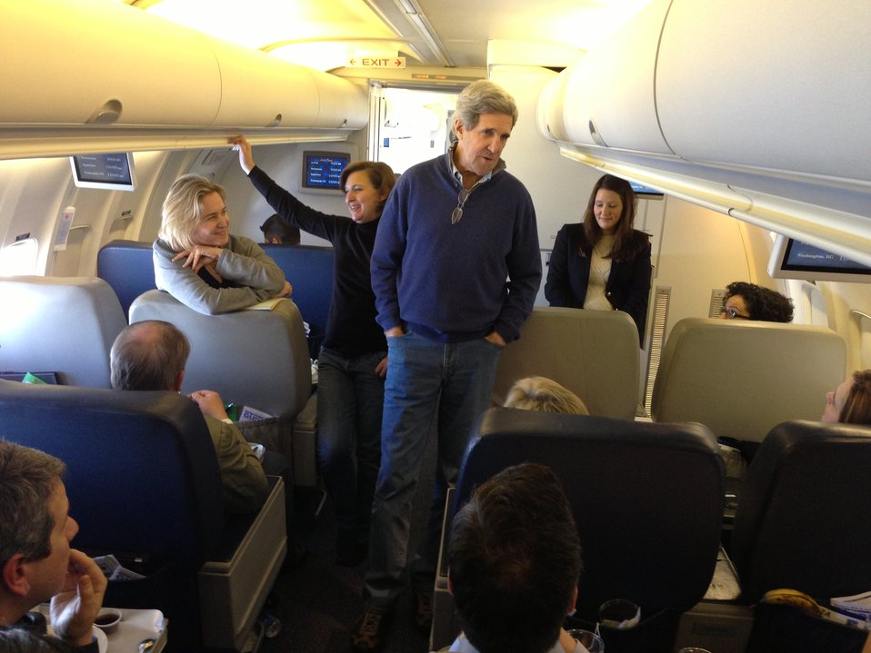 Secretary Kerry Speaks With Press Corps En Route London, United Kingdom