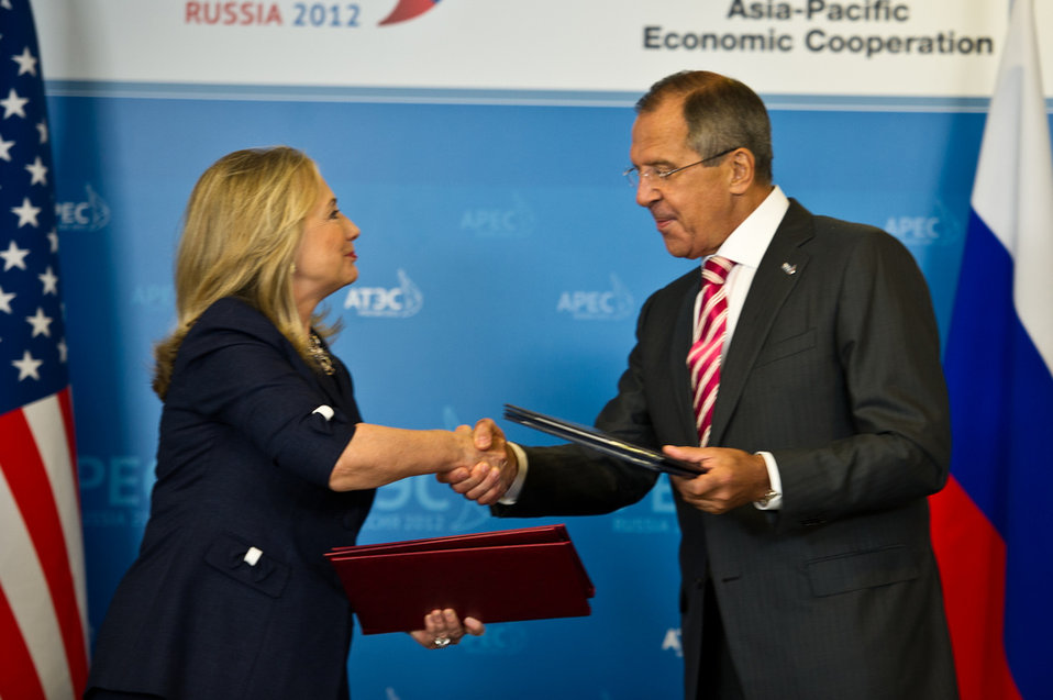 Secretary Clinton and Russian Foreign Minister Lavrov Shake Hands