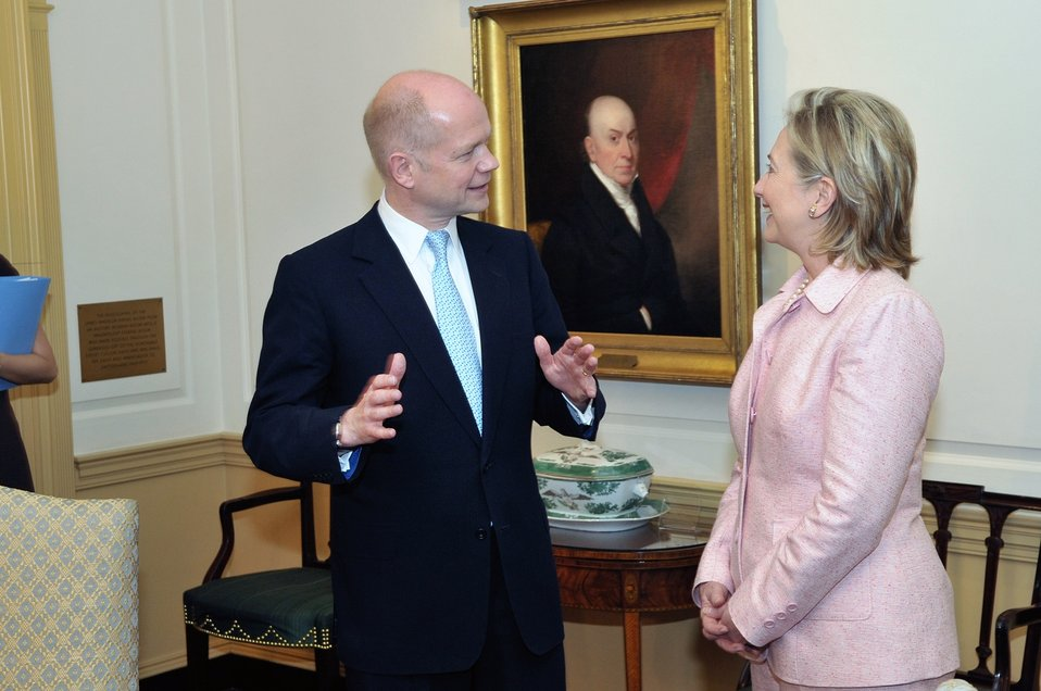 Secretary Clinton Holds a Bilateral With British Foreign Secretary William Hague